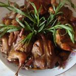 Перепелка жаренная с грибами (армянские блюда)